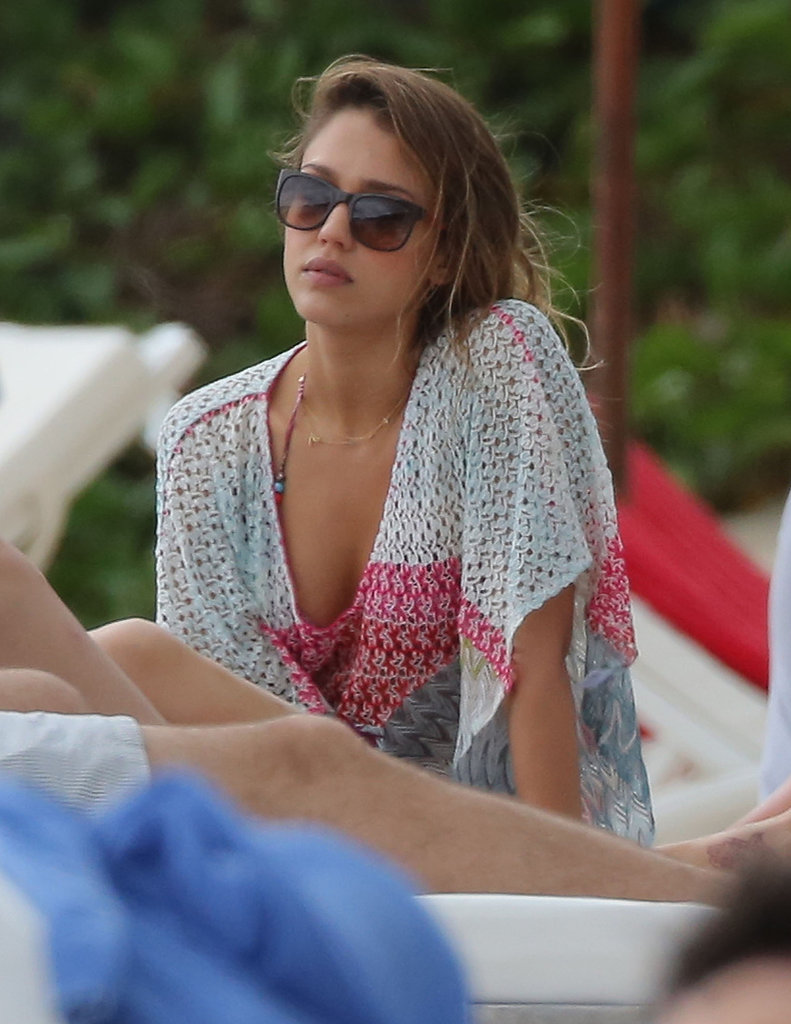 Jessica Alba relaxed in St. Barts on Friday.