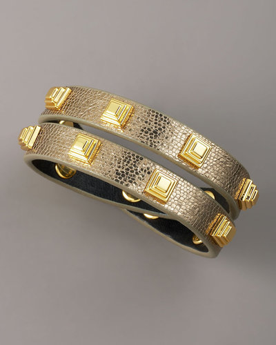 Tory Burch Studded Leather Bracelet, Gold