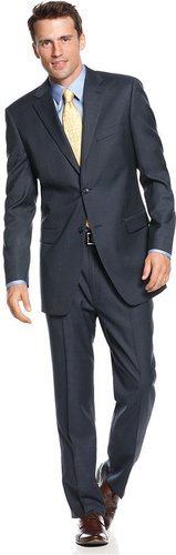 Jones New York Suit, Navy Solid Texture