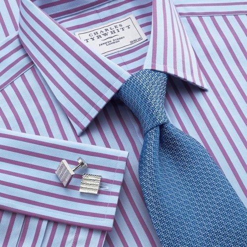 Sky & purple stripe classic fit dress shirt