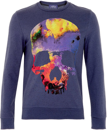 Blue Neppy Colourful Skull Printed Sweatshirt
