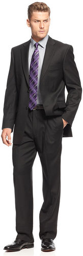 Jones New York Suit, 24/7 Black Solid Herringbone
