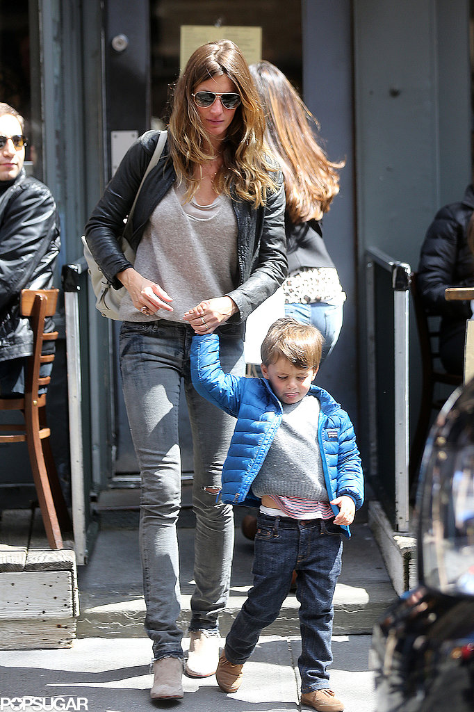 Gisele Bündchen held hands with her son Benjamin Brady in NYC.