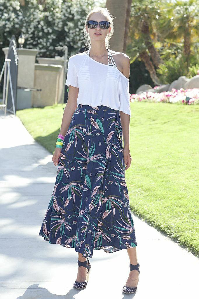 Studded footwear added a dose of edge to this flowy Coachella party look.