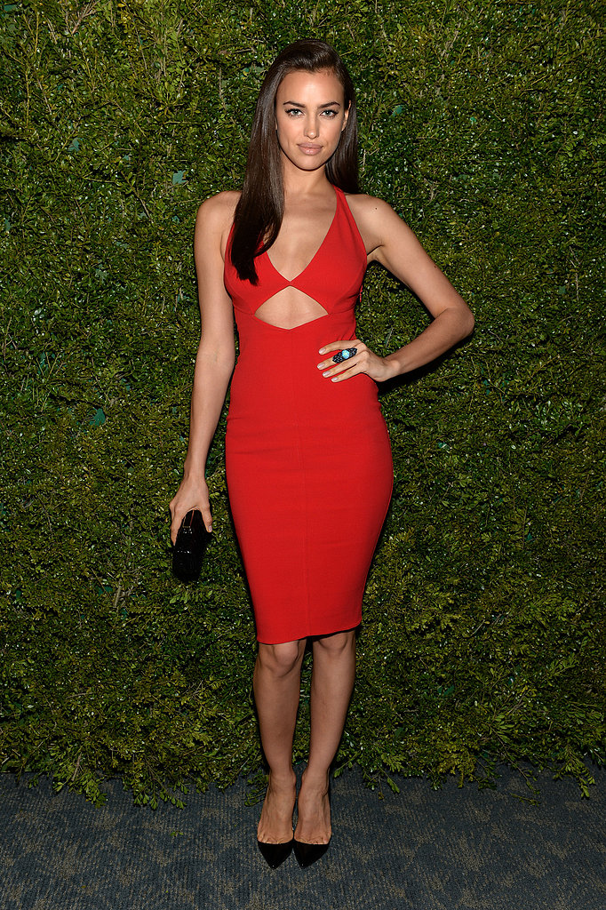 Irina Shayk wore a red dress.