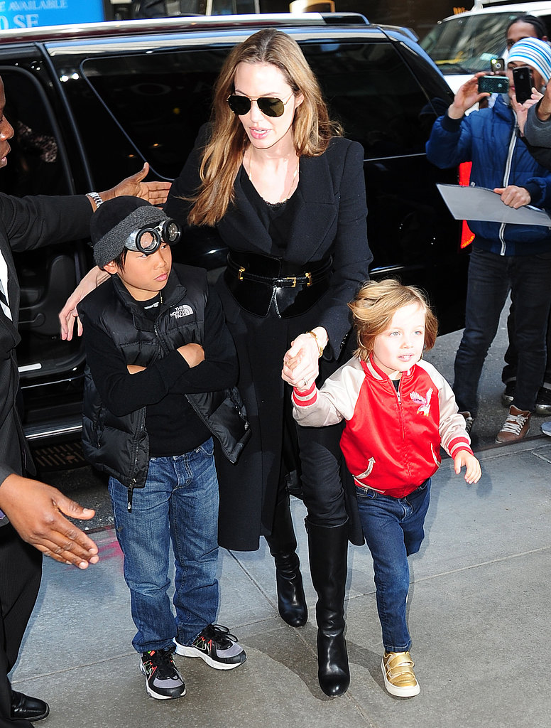 Angelina Jolie was out and about for a toy-store stop in NYC on Friday with her sons Pax and Knox Jolie-Pitt.