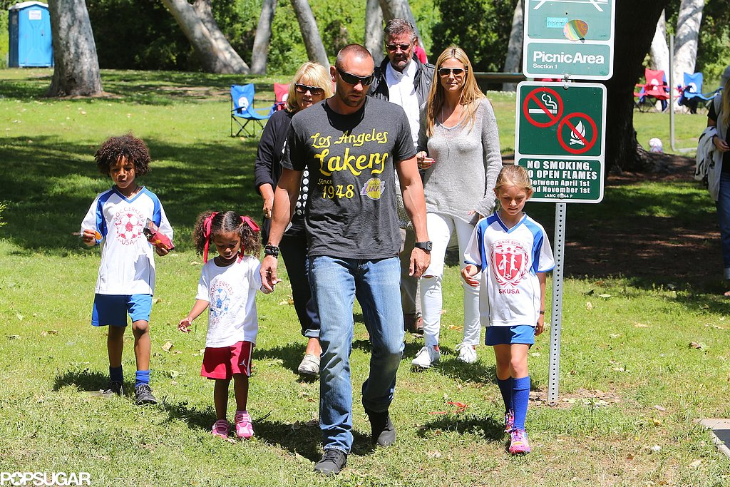 Martin Kristen led the way as he and Heidi Klum took her kids and parents to cheer on Leni Klum and Henry Samuel at their LA soccer game.
