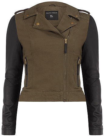 Khaki canvas PU sleeve biker