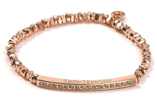 Michael Kors Rose Gold Beaded Pavé Bar Bracelet