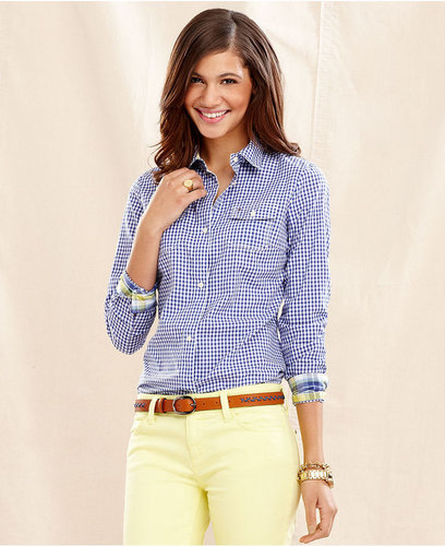 Tommy Hilfiger Shirt, Long-Sleeve Cotton Printed Button-Down