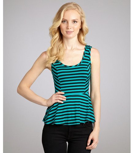 Casual Couture by Green Envelope sea cool and black striped peplum tank
