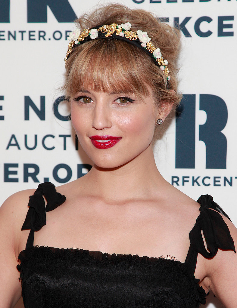 Dianna Agron wore her shoulder-length hair pulled back in a textured style topped with an ornate headband for a romantic feel.