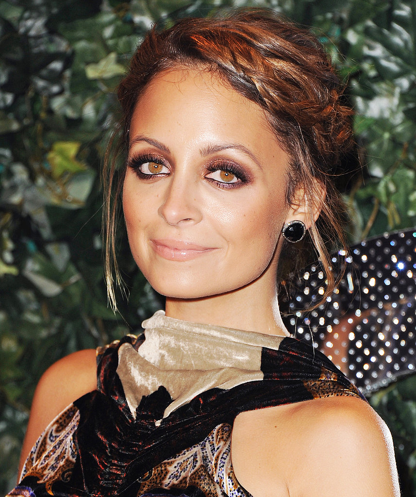 Nicole Richie recently wore her shoulder-length hair twisted back for a polished boho-chic vibe.