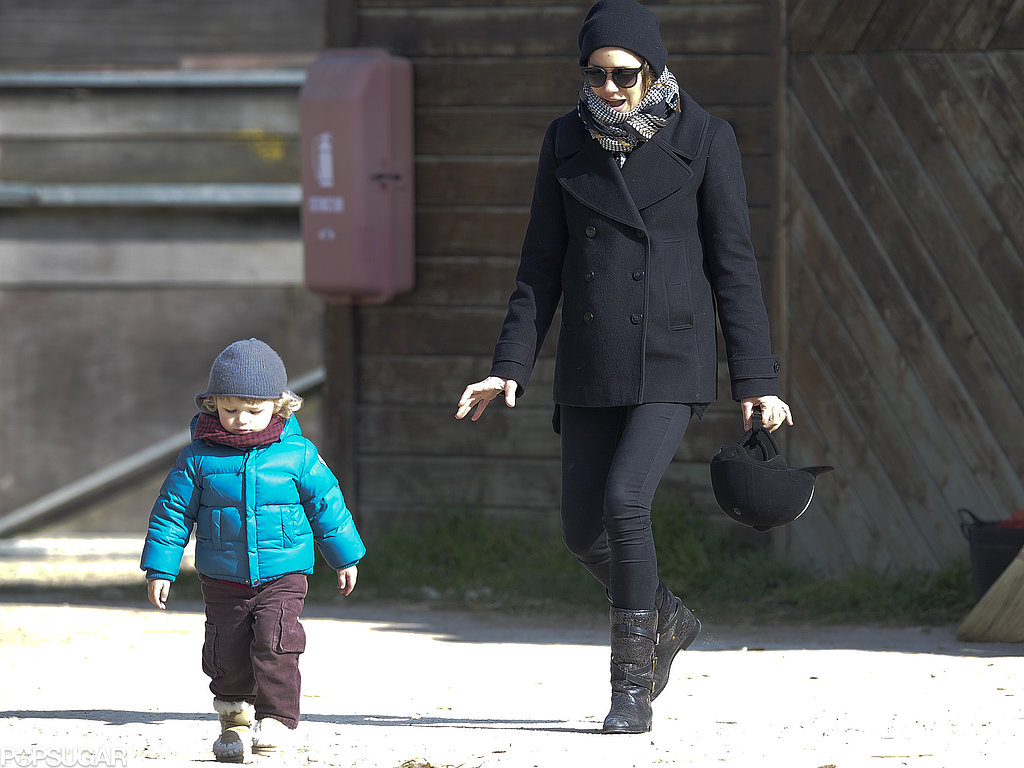 Marion Cotillard took son Marcel Canet to watch dad Guillaume Canet's horse show in France.