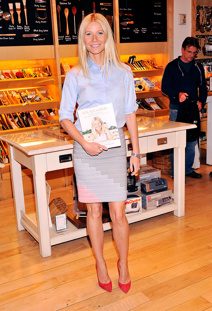 Gwyneth Paltrow signed copies of her cookbook, It's All Good, at Williams-Sonoma in NYC.