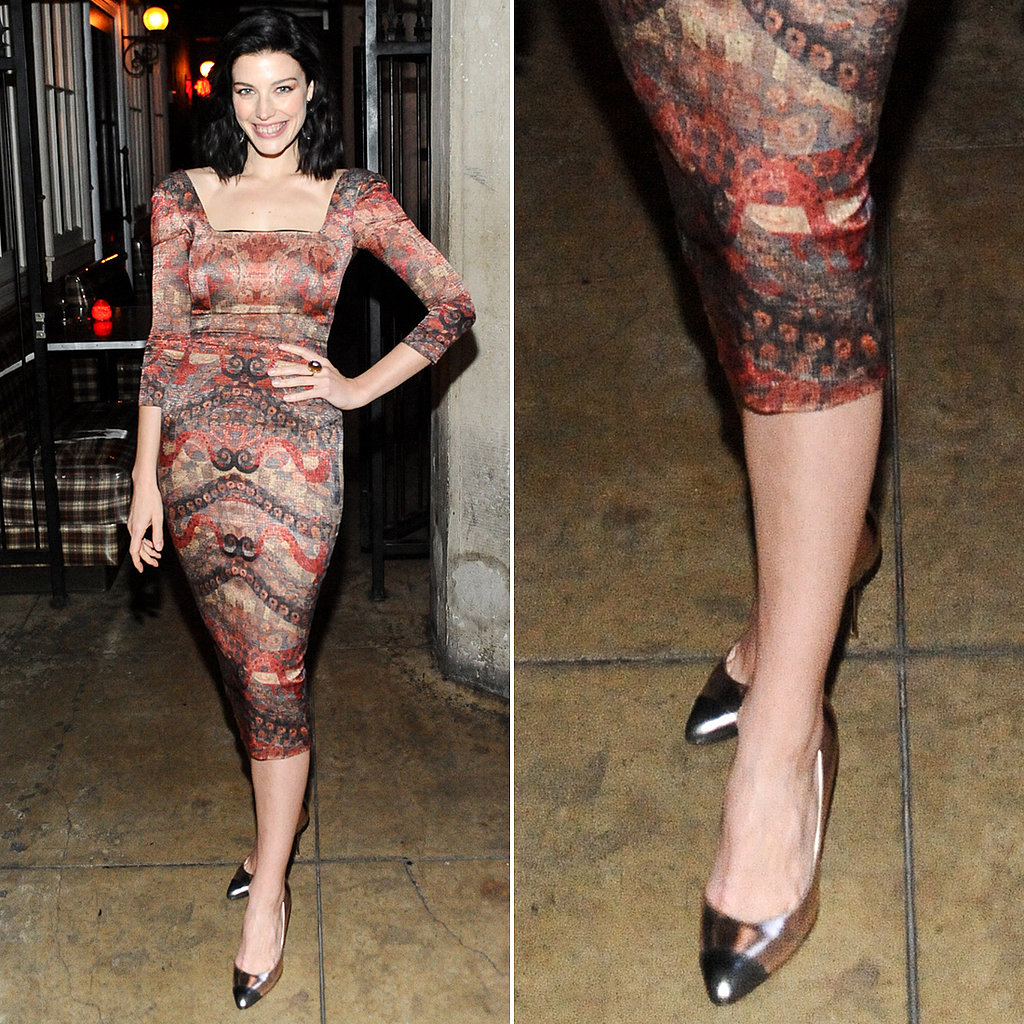 Mad Men's Jessica Paré picked a pair of metallic silver cap-toe pumps to jazz up her printed square-neck dress at an LA Confidential party in LA.