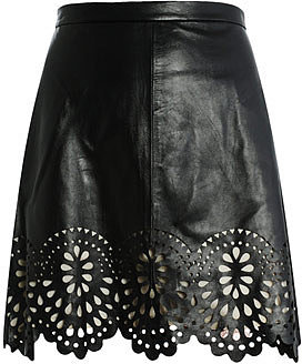 Lover Laser-cut leather skirt