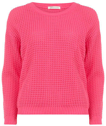 Flouro pink fisherman knit jumper