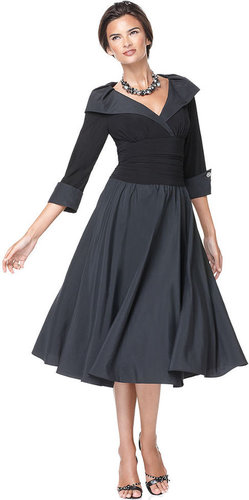 Jessica Howard Dress, Three Quarter Sleeve Portrait Collar A-Line