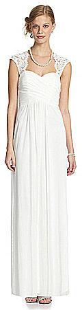 Xscape Lace Cap-Sleeve Gown