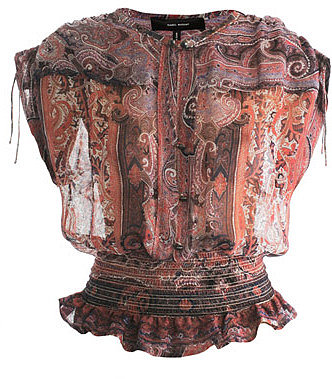 Isabel Marant Paisley-print gathered waist blouse