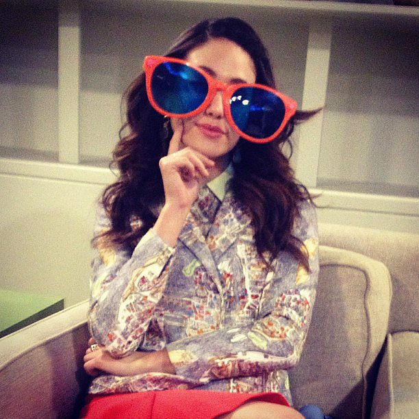 Emmy Rossum modeled an oversize pair of shades while hanging backstage at Katie Couric's daytime talk show. Source: Instagram user emmyrossum