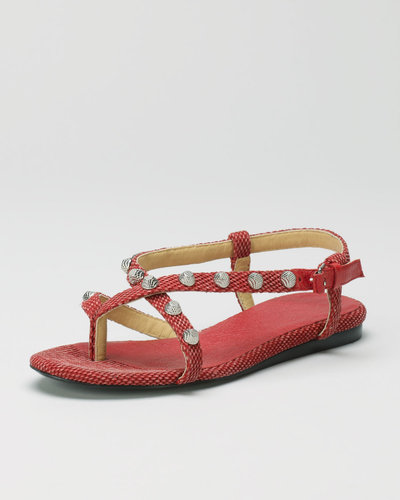 Balenciaga Crisscross Cotton Canvas Flat Sandal