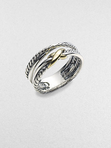 David Yurman Sterling Silver & 18K Yellow Gold Ring