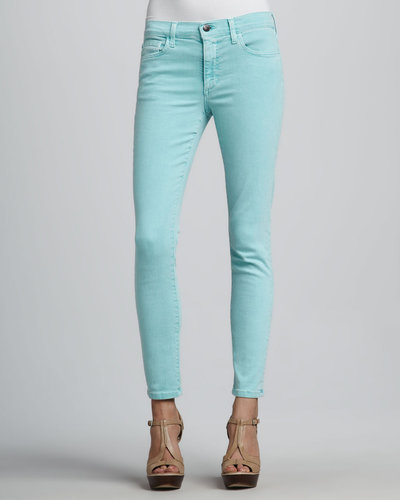 Joe's Jeans Straight-Leg Cropped Jeans, Aqua Blue