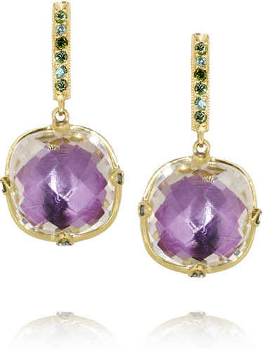 Larkspur & Hawk Haley 18-karat gold, topaz and diamond earrings