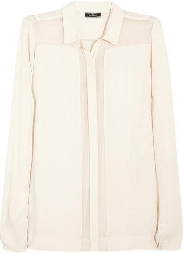 By Malene Birger Chiffon-trimmed crepe shirt