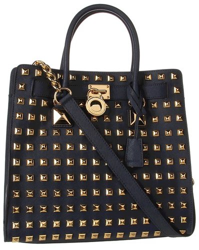 MICHAEL Michael Kors - Hamilton Studded Large North/South Tote (Navy) - Bags and Luggage