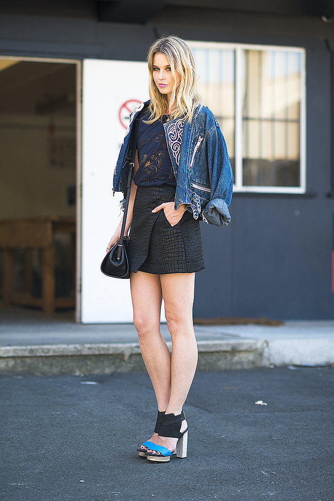 A perfect mix of texture, thanks to an exotic-feeling mini and a denim jacket to help top it off — and pare it down. Source: Le 21ème   Adam Katz Sinding