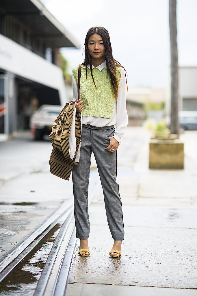 A lesson in easy layering: this attendee added interest with a citron-hued knit and coordinating heels. Source: Le 21ème   Adam Katz Sinding