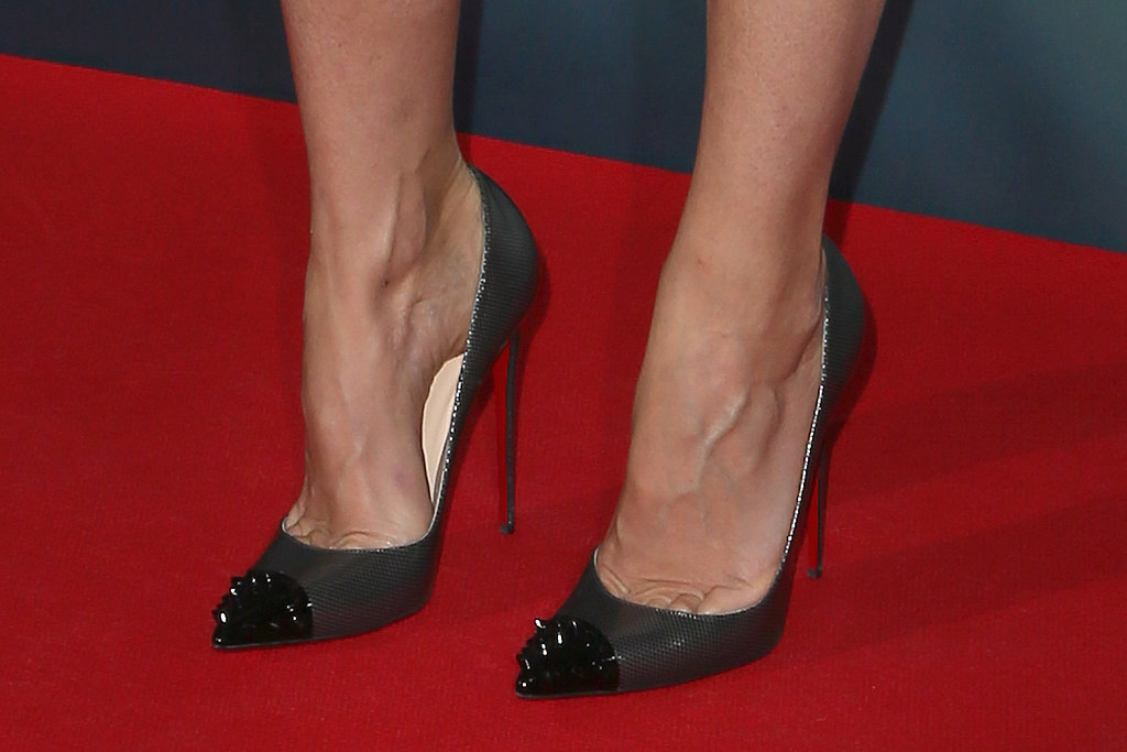 A close-up of Gwyneth Paltrow's sky-high spiked cap-toe Christian Louboutin pumps at the Munich photocall. The edgier shoe choice provided a tougher offset to her crisp KaufmanFranco dress on top.