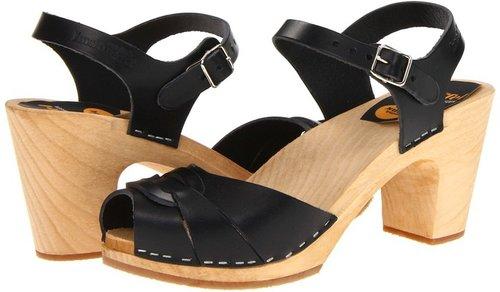 Swedish Hasbeens - Peep Toe Super High (Black) - Footwear