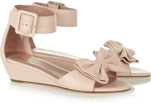 RED Valentino Bow-embellished leather wedge sandals