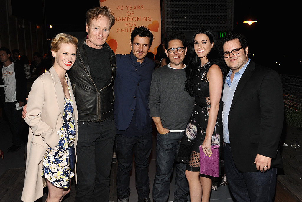 January Jones, Conan O'Brien, Orlando Bloom, J.J. Abrams, Katy Perry and Josh Gad lined up at a Coach charity event on April 11.