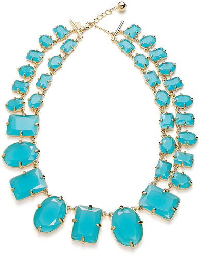 kate spade new york Necklace, 12k Gold-Plated Turquoise-Colored Stone Statement Necklace