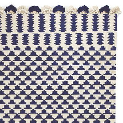 Navy/Ivory Zig Cotton Dhurrie