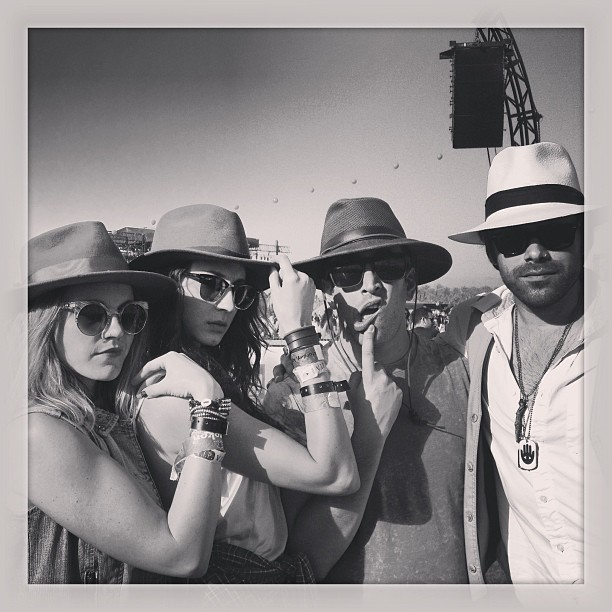 Pretty Little Liars actress Troian Bellisario flexed her muscles with friends on the Coachella grounds during weekend one.  Source: Instagram user sleepinthegardn