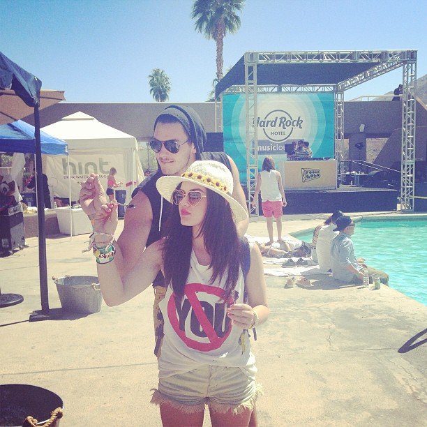 Lucy Hale threw darts with friends while at the Hard Rock Music Lounge during Coachella weekend one.  Source: Instagram user lucyhale89