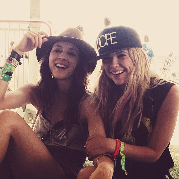 Pretty Little Liars costars Troian Bellisario and Ashley Benson shared a laugh at Coachella day two. Source: Instagram user itsashbenzo
