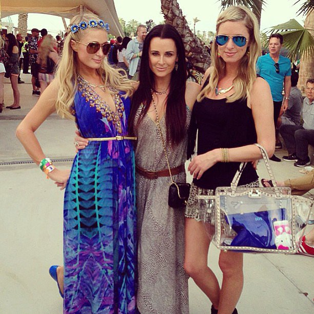 Paris Hilton and Nicky Hilton had a family moment at Coachella when they ran into their aunt Kyle Richards.  Source: Instagram user parishilton