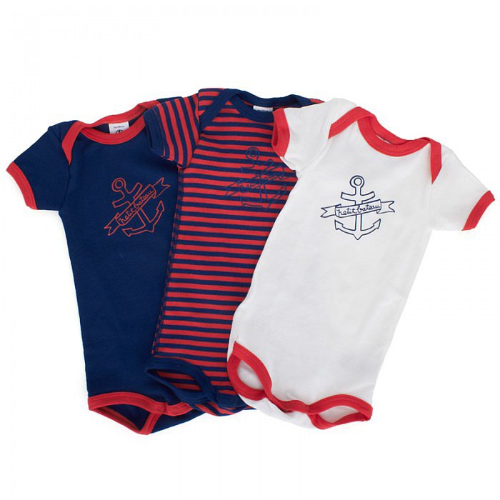 A trio of Petit Bateau nautical bodysuits ($35) in red, white, and blue are all your baby boy needs to head out into the warm Summer sun.