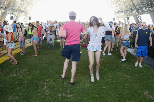 A guy and girl danced together at Coachella.