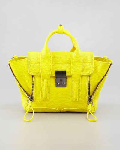 3.1 Phillip Lim Mini Pashli Leather Satchel, Neon Yellow