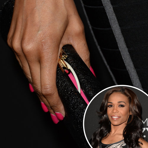 Also at the premiere of Lifetime's Call Me Crazy: A Five Film, singer Michelle Williams wore a Spring-appropriate hot-pink manicure.