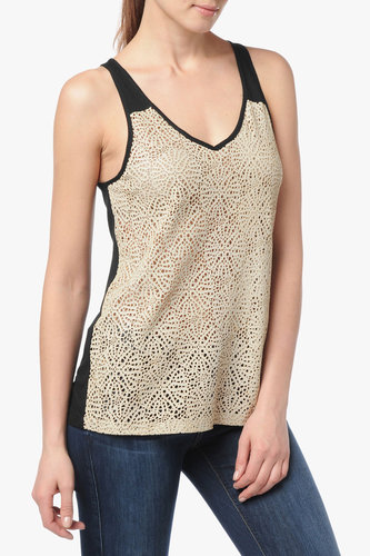 Laser Cut Leather Tank In Light Taupe