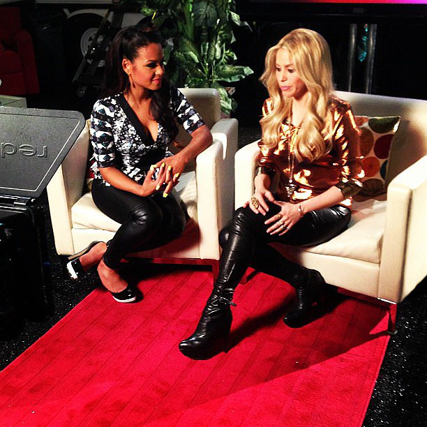 Christina Milian and Shakira had some girl talk backstage on The Voice.  Source: Instagram user christinamilian